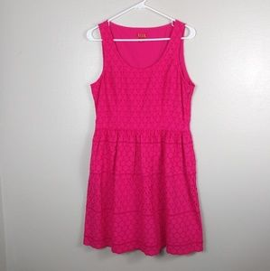 Elle Fit and Flare Eyelet Sleeveless Pink Dress 10